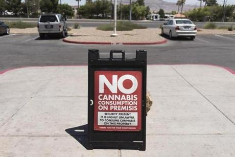 A sign stating cannabis may not be consumed on the premises outside the entrance of Shango cannabis dispensary.