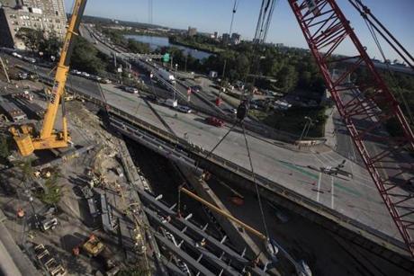 Construction on the Commonwealth Avenue Bridge.