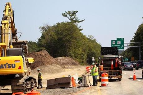 Hanover, MA - 8/01/2017 - A view of the area under construction between Route 3 north and south bound that will serve as a temporary roadway during construction and that at the conclusion of construction will become a section of the newly realigned road. The State Department of Transportation is undertaking a $30 million project to replace four structurally deficient bridges that carry Route 3 over High Street in Norwell and over Route 123 (Webster Street) in Hanover. - (Barry Chin/Globe Staff), Section: Regional/South Week, Reporter: John Laidler, Topic: 13soroadwork, LOID: 8.3.3256216822.