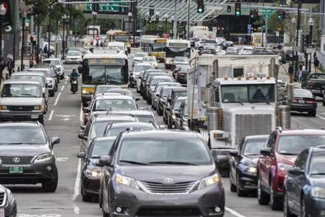Boston, MA - 7/25/2017 - Vehicles make their way through traffic along Washington Street in Boston, MA, July 25, 2017. (Keith Bedford/Globe Staff)