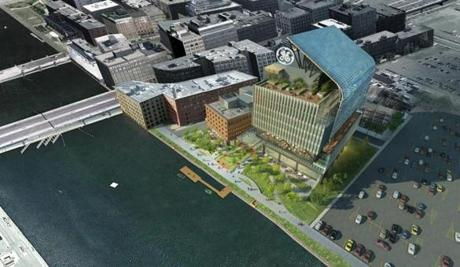 Rendering of new headquarters General Electric plans to build along Fort Point Channel.