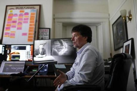 Walpole, NH -- 8/7/2017 - Ken Burns inside one of the editing suites at his studio in Walpole, NH. (Jessica Rinaldi/Globe Staff) Topic: 082717Burns