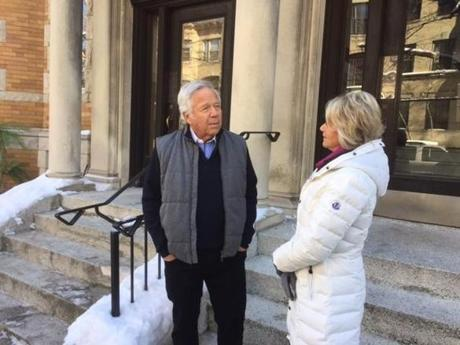"Sportscaster Andrea Kremer (right) interviewed Patriots owner Robert Kraft for a February episode of ""Real Sports with Bryant Gumbel."" Said Kremer, who teaches at BU: ""Until we have women in the position to hire, you will get men who want to hire women they couldn't get dates with in high school."""