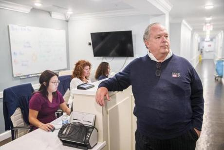 Owner J. Brian O'Neill stood at a nurses station at the Recovery Centers for America's facility in Westminster.