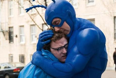 "Griffin Newman (left) and Peter Serafinowicz in ""The Tick."""