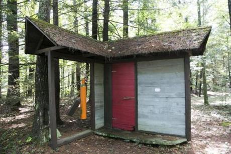 "September 7, 2017 - Shutesbury, MA - home of Julian Janowitz An art installation made by Mr. Janowitz titled the ""Magical Doorway"" on his property. Julian Janowitz, 88 years old, is dying of renal failure and will donate his property on Ames Pond to Kestrel Land Trust upon his death. The property is filled with a collection of sculptures and installation art made by Mr. Janowitz who is a self taught artist. Mr. Janowitz had a professional career as a psychiatrist. Photo by Katherine Taylor for The Boston Globe"