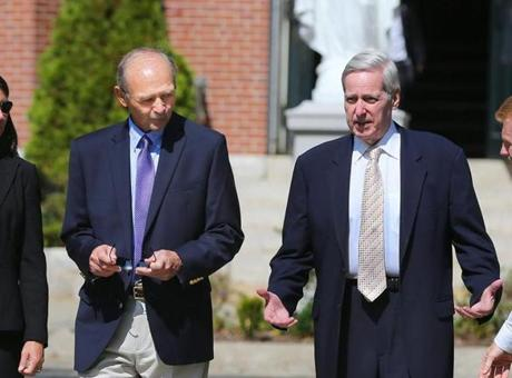 Former Massachusetts House speakers Sal DiMasi (left) and Charles Flaherty after the funeral.