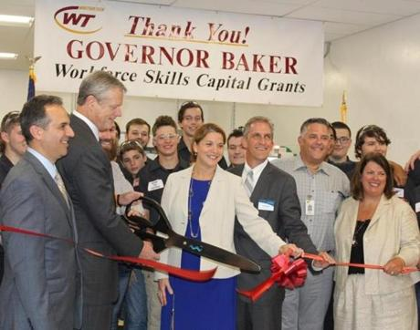 01noinformer - Gov. Charlie Baker cut the ribbon for Whittier Tech's new Machine Technology shop. (Handout)