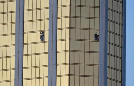 LAS VEGAS SLIDER2 LAS VEGAS, NV - OCTOBER 02: Broken windows are seen on the 32nd floor of the Mandalay Bay Resort and Casino after a lone gunman opened fired on the Route 91 Harvest country music festival on October 2, 2017 in Las Vegas, Nevada. The gunman, identified as Stephen Paddock, 64, of Mesquite, Nevada, opened fire from the Mandalay Bay Resort and Casino on the music festival, leaving at least 50 people dead and hundreds injured. Police have confirmed that one suspect has been shot. The investigation is ongoing. (Photo by David Becker/Getty Images)