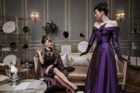"Sarah Parish (left) and Poppy Corby-Tuech in ""The Collection."""