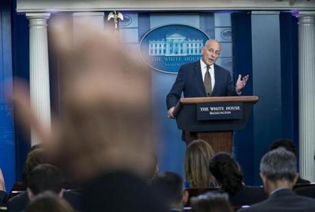 John Kelly, the White House chief of staff, fielded questions during a daily briefing at the White House on Thursday.