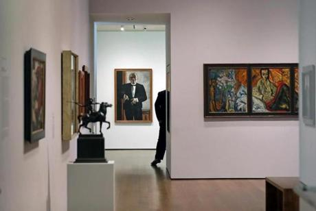 "CAMBRIDGE, MA - 10/04/2017: ""Self-Portrait in Tuxedo,""1927 at the Harvard Art Museums Cambridge, Max Beckmann's painting depending on where you stand, the painting is framed by one, two, or three doorways. (David L Ryan/Globe Staff ) SECTION: ARTS TOPIC 15views"