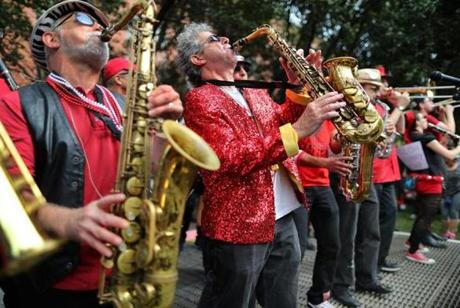 The Second Line Social Aid and Pleasure Society Brass Band plays the Honk! Festival.