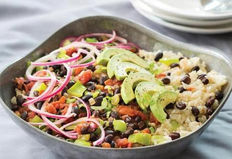 Skillet Black Beans With Quick Pickled Onions.