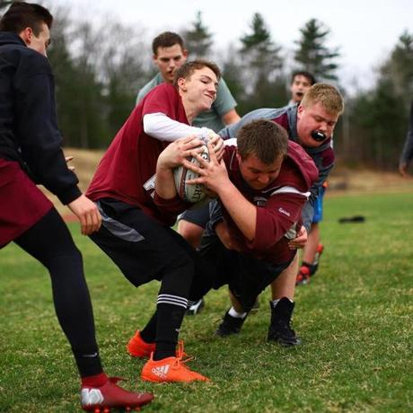 Chelmsford High School rugby team during practice, on April 18, 2019, held at Chelmsford High School. Mark Lorenz for the Boston Globe.