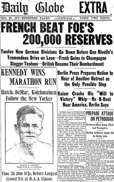 The front page of the Globe from April 20, 1917.