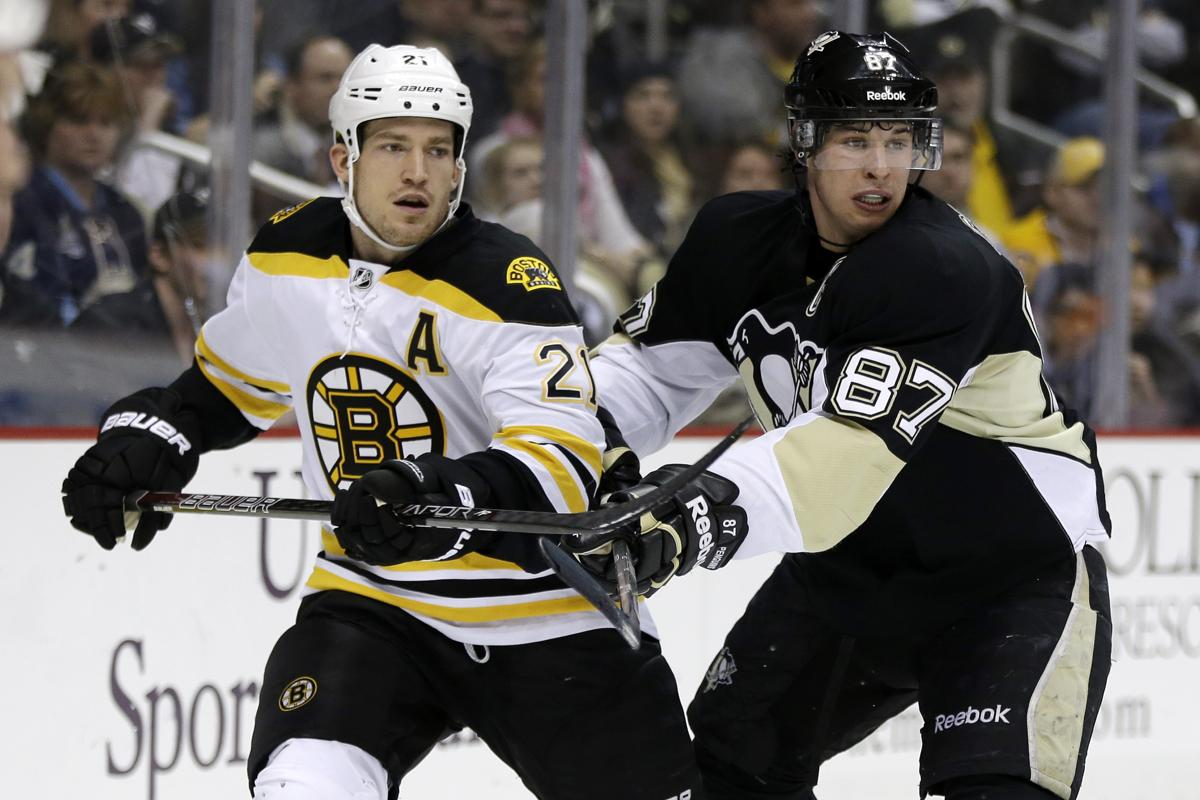 0eb5a22da Pittsburgh Penguins center Sidney Crosby (87) checks Boston Bruins  defenseman Andrew Ference (21
