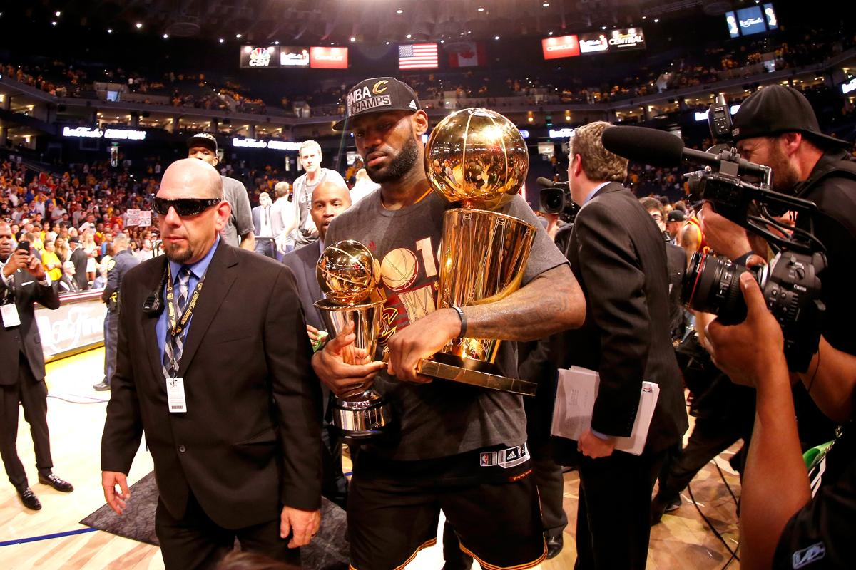 LeBron James Walked Off The Oracle Arena Court With Finals MVP And NBA Championship Trophies
