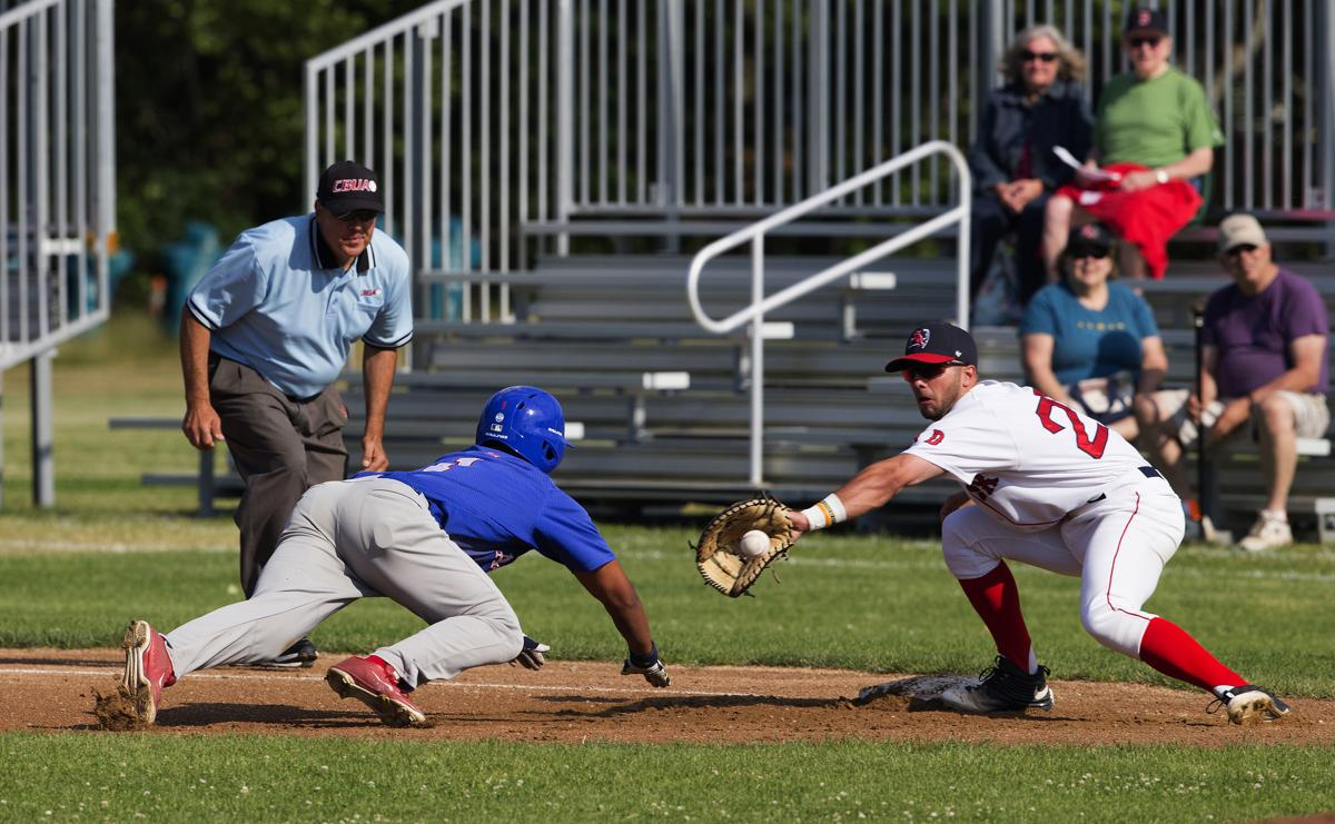 Delightful Baseball Clubs Of Cape Cod Part - 7: Chathamu0027s D.J. Artis Slid Back As The Throw Goes To Yarmouth-Dennisu0027s  Brendan Skidmore In