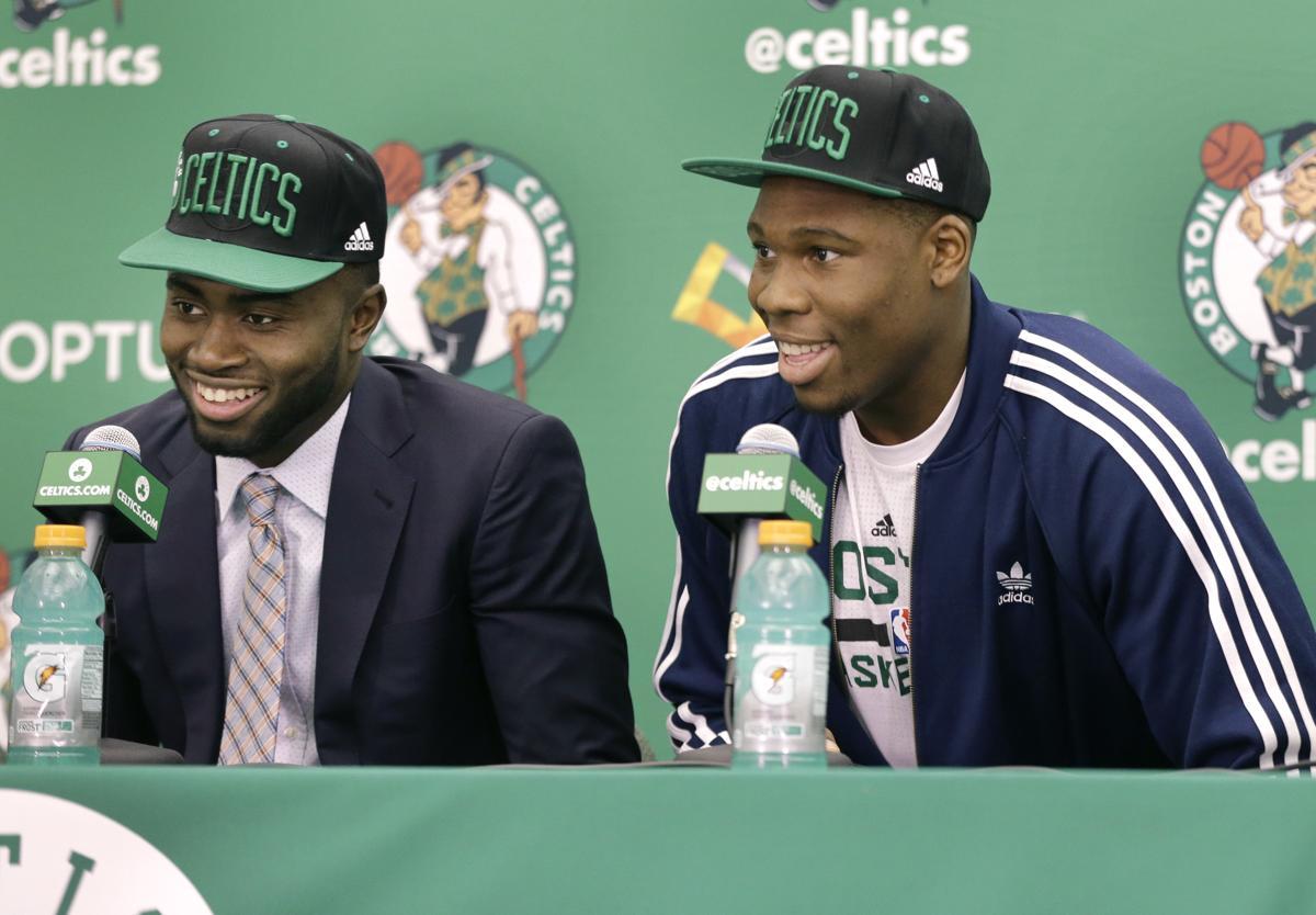 Boston Celtics basketball draft picks Jaylen Brown, left, and Guerschon  Yabusele, of France