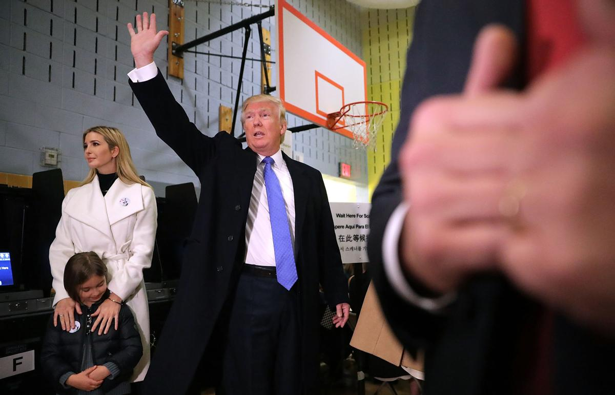 824dd32ca9d 58. Republican presidential nominee Donald Trump waves after casting his  vote with daughter ...