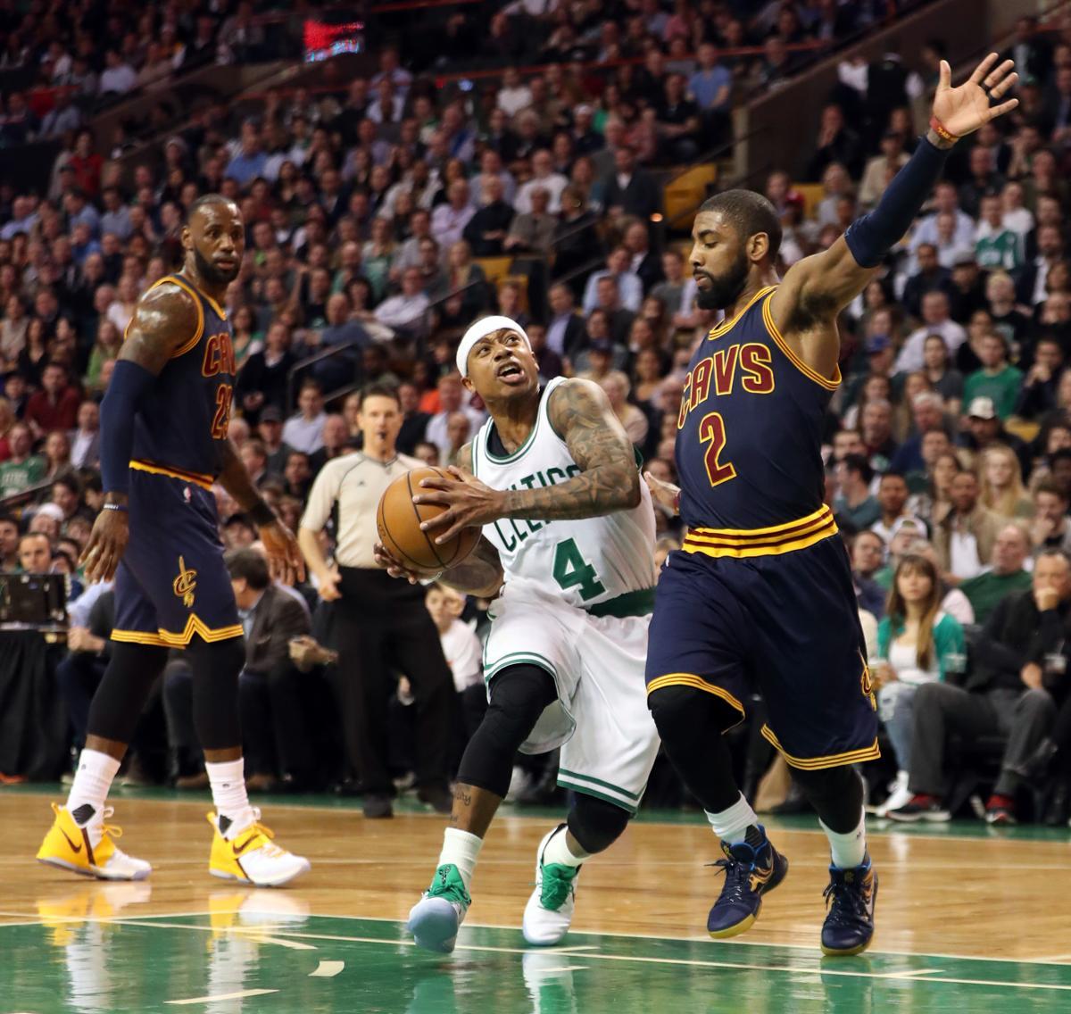 Boston Ma  Boston Celtics Isaiah Thomas Drives To The Basket On