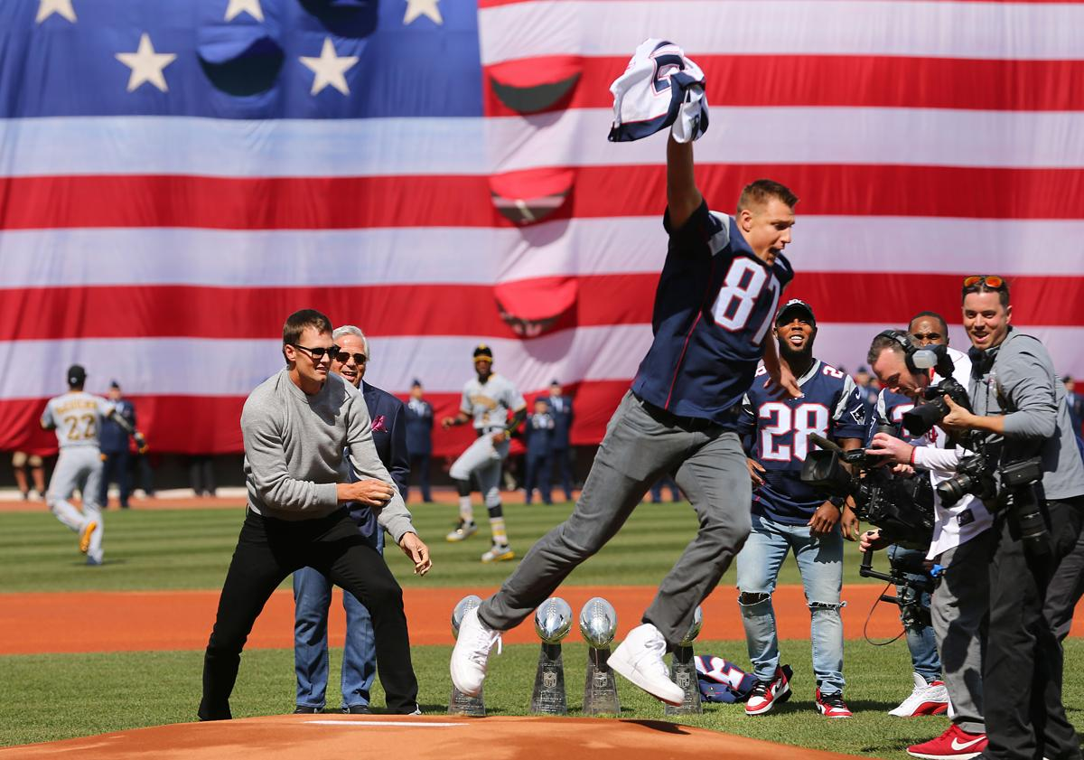 "Photos  The Fenway Park jersey heist. Rob Gronkowski simulated ""stealing"" Tom  Brady s ... a161cfce5"