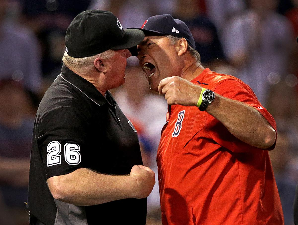 Red Sox manager John Farrell suspended one game for poking umpire