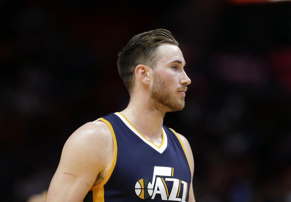 Utah jazz forward gordon hayward stands on the court during the second half  of an nba 39e488d65