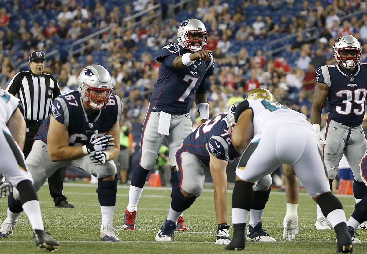 New England Patriots Quarterback Jacoby Brissett (7) Points As He Calls Out  From The