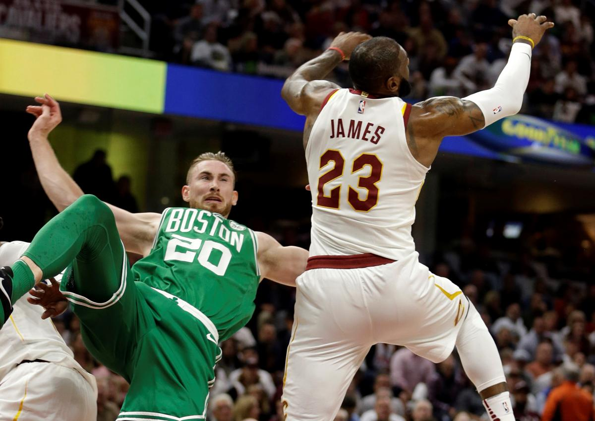 Gordon Hayward 20 Falls After Colliding With LeBron James In The First Quarter