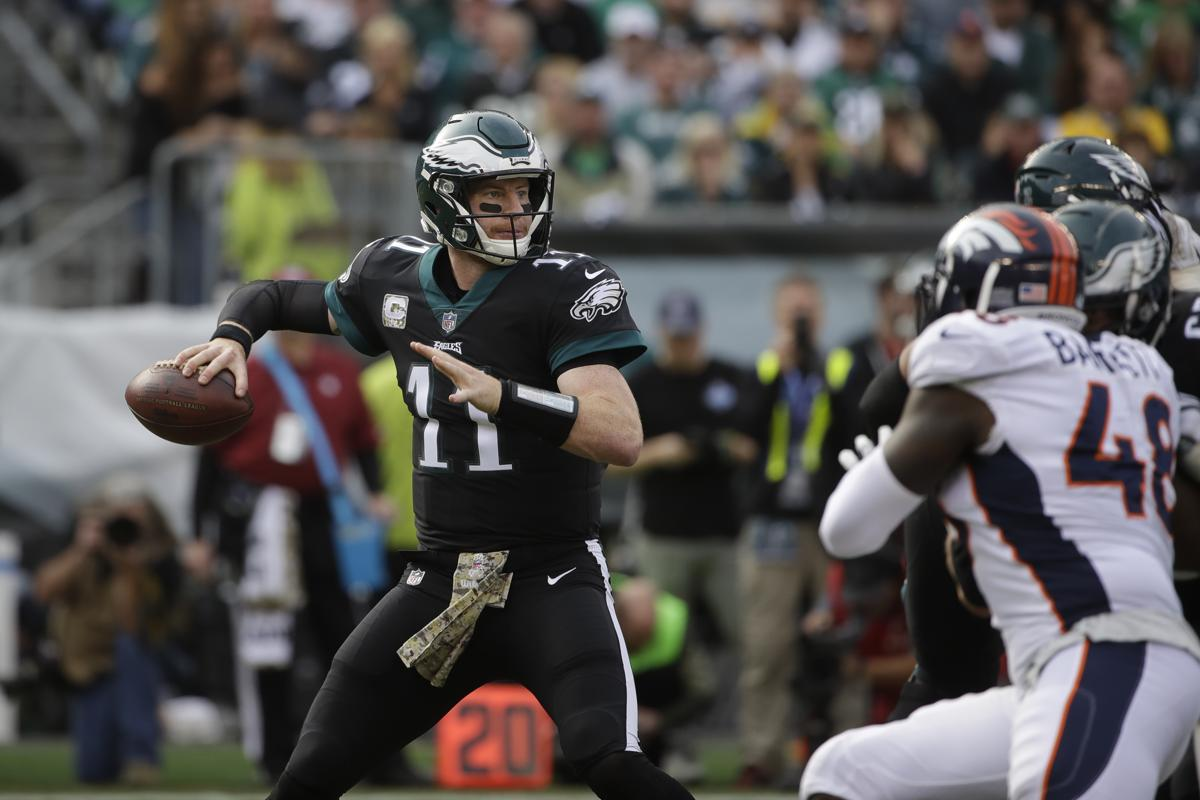 quality design 920cd 95a1d Philadelphia Eagles  Carson Wentz in action during the first half of an NFL  football game