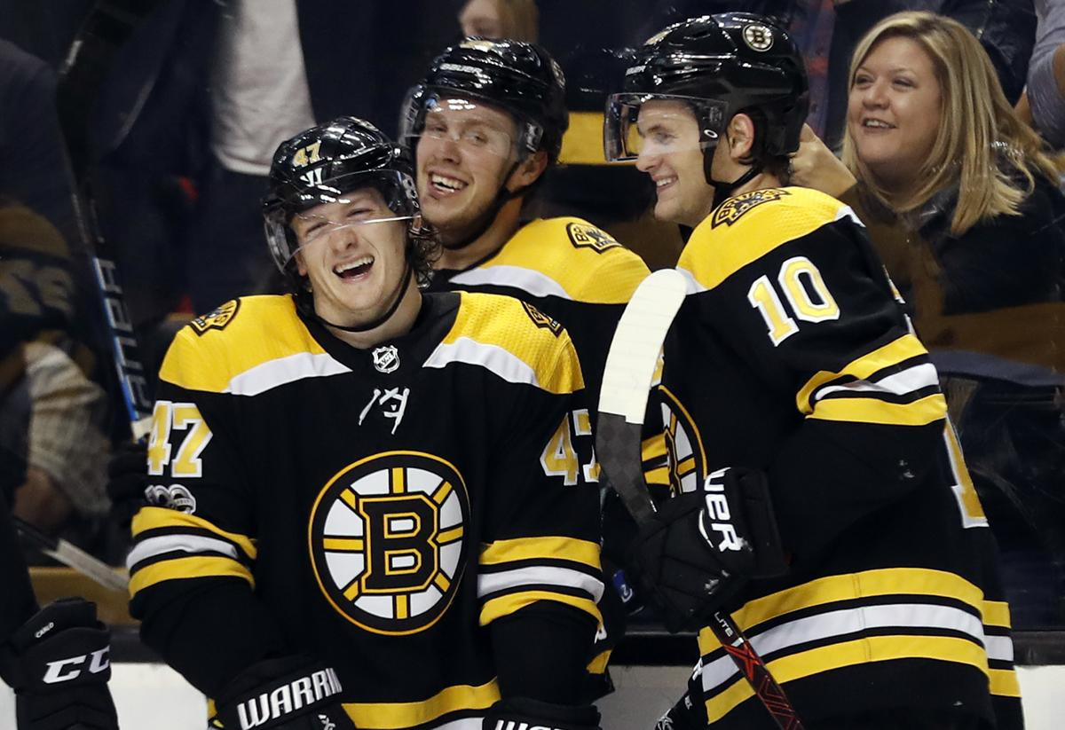 Boston Bruins Torey Krug 47 Shares A Laugh With David Pastrnak And Anders