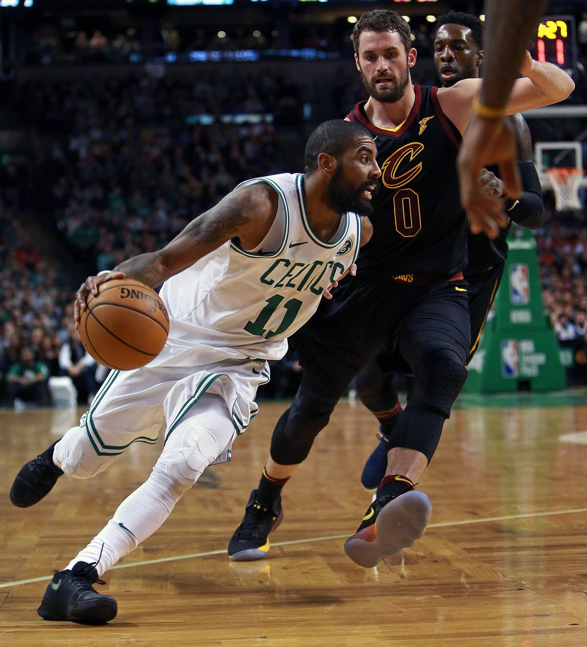 Boston, MA 1-3-18: The Celtics Kyrie Irving (left)