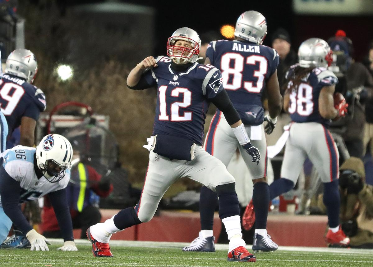 Patriots Quarterback Tom Brady Reacted After Hitting Brandon Bolden On A Third Quarter Pass For