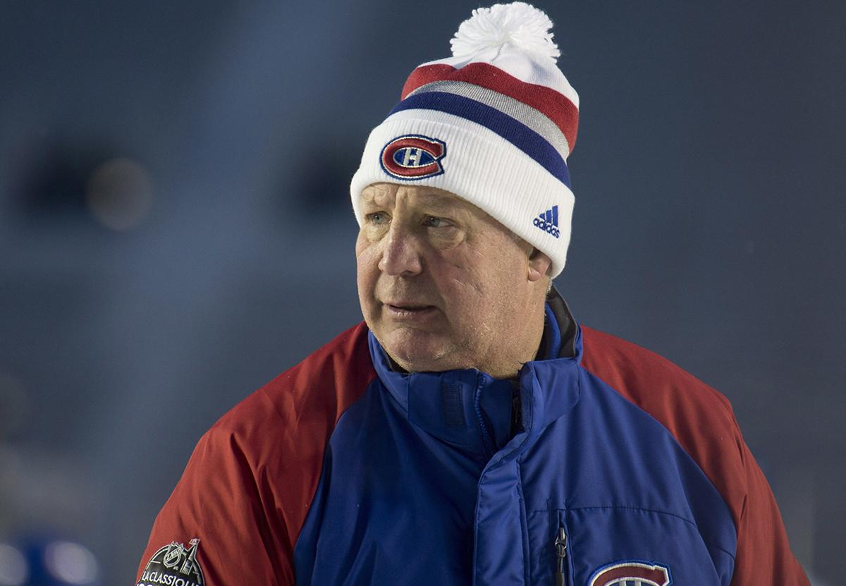 Montreal Canadiens head coach Claude Julien skates during an outdoor hockey  practice Friday e924067b3