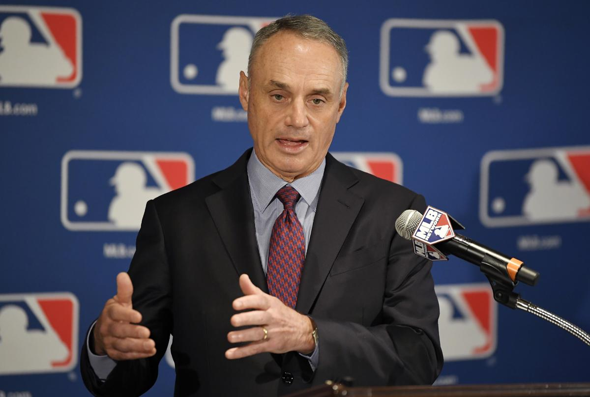 Major League Baseball commissioner Rob Manfred speaks during a news  conference at the baseball owners meetings