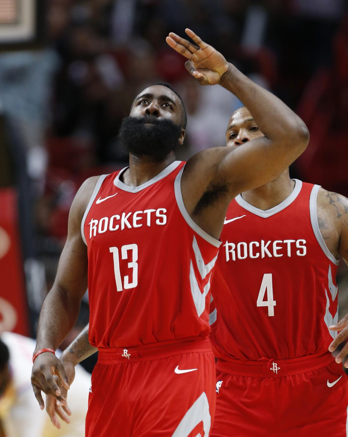 Houston Rockets guard James Harden celebrates a three-point shot during the  second half of 6ed9b6528
