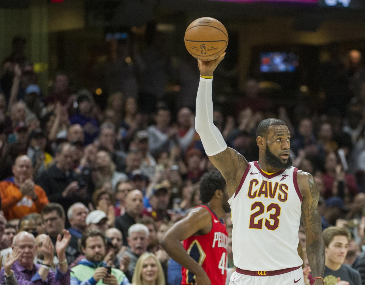 Cleveland Cavaliers LeBron James Celebrates During The First Half Of An NBA Basketball Game Against