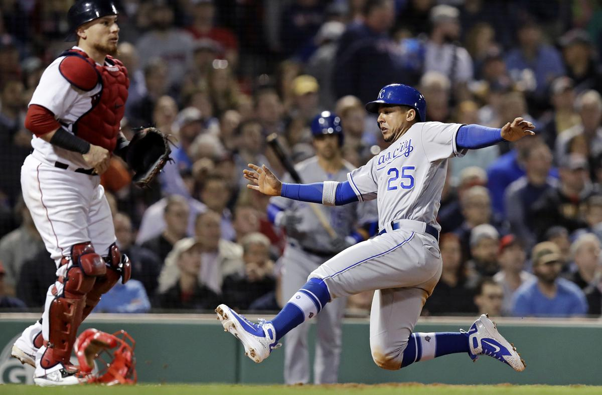 Kansas City Royals Jon Jay 25 Slides Home As He Scores On From