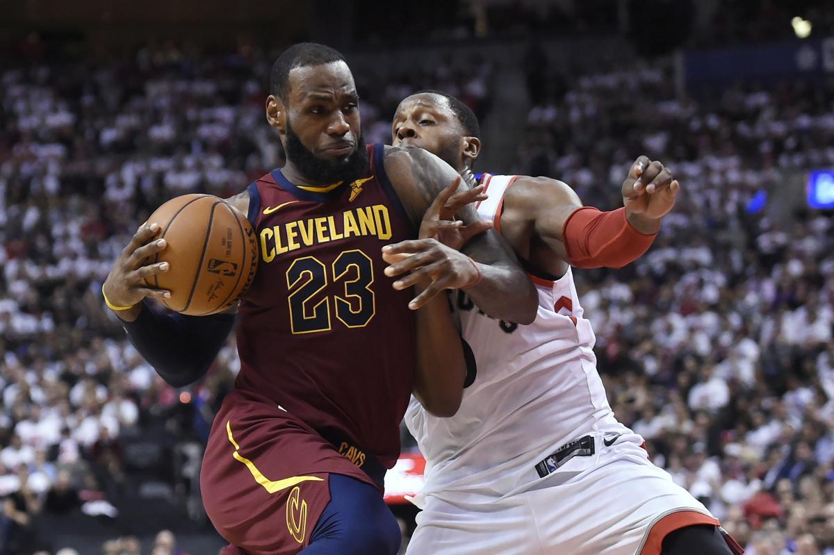 9b378a9b4b50 Cleveland Cavaliers forward LeBron James (23) gets by Toronto Raptors  forward CJ Miles (