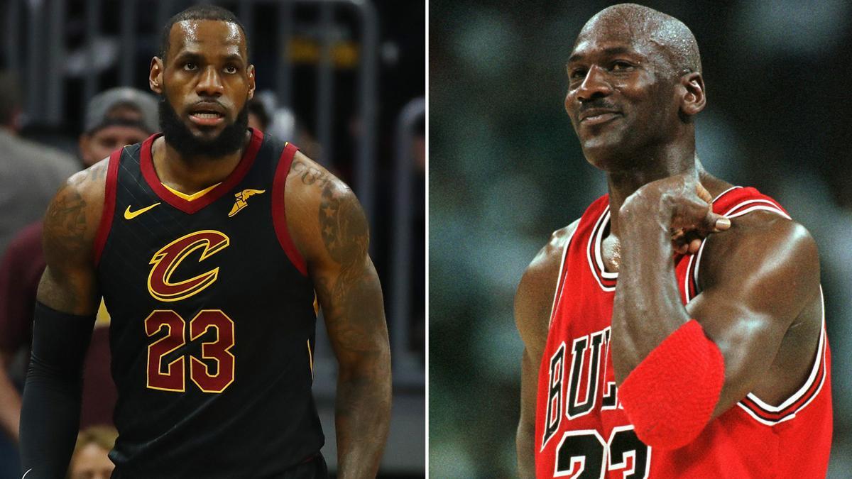 brand new 2b722 80520 At present, LeBron James (left) has three NBA titles, while Michael Jordan