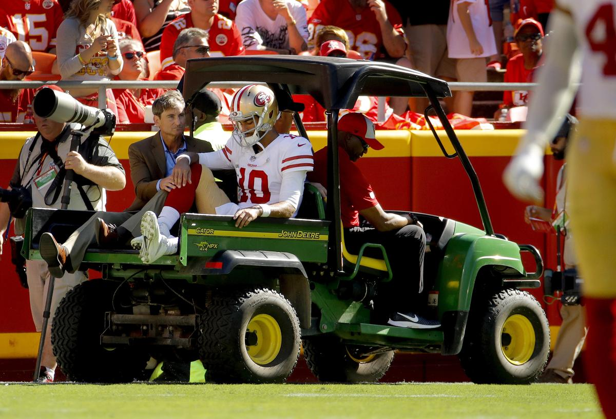 San Francisco 49ers quarterback Jimmy Garoppolo (10) is carted off the field after being