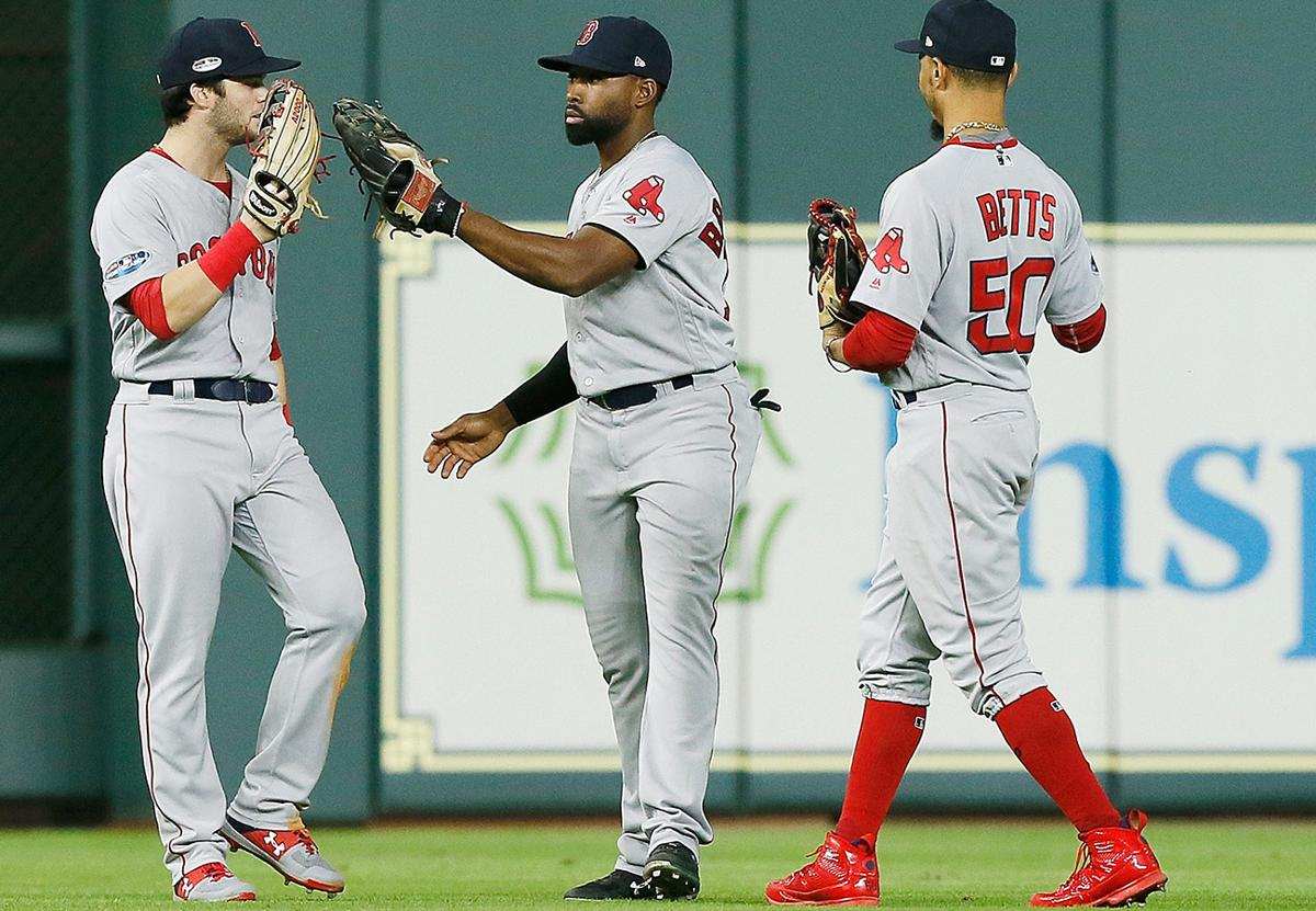 579005e0aea ... players weekend jersey 4c92d 74f38  spain houston tx october 16 l r andrew  benintendi 16 jackie c86ac ed3a6