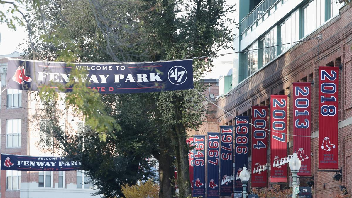 section of wrap depicting 2018 world series flag stolen from fenway park