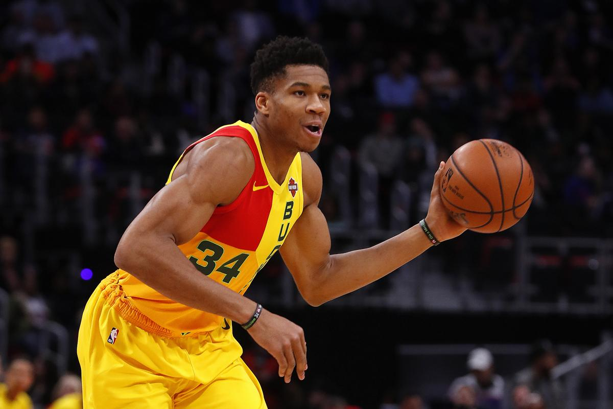 Milwaukee Bucks forward Giannis Antetokounmpo plays against the Detroit  Pistons in the first half of an e71427c05