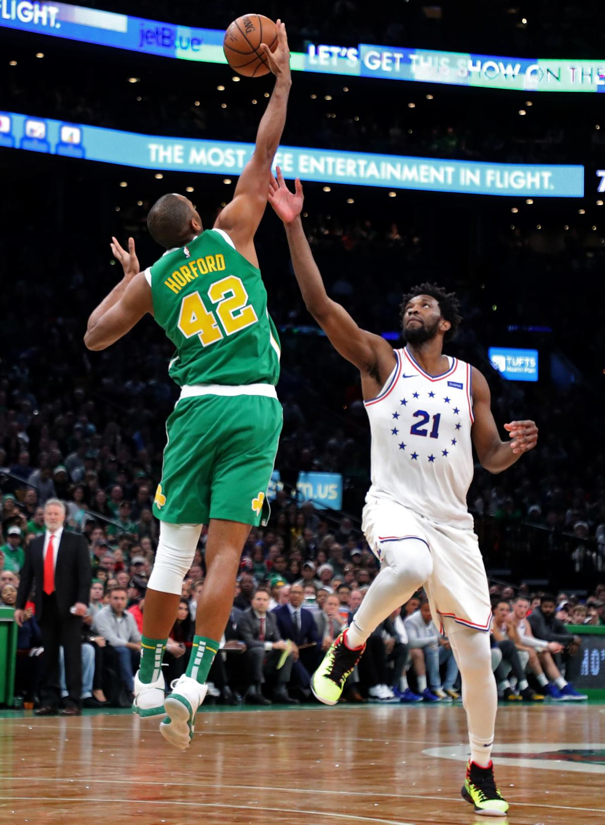 Celtics center Al Horford steals the ball from Joel Embiid during fourth  quarter. 89b374a5c