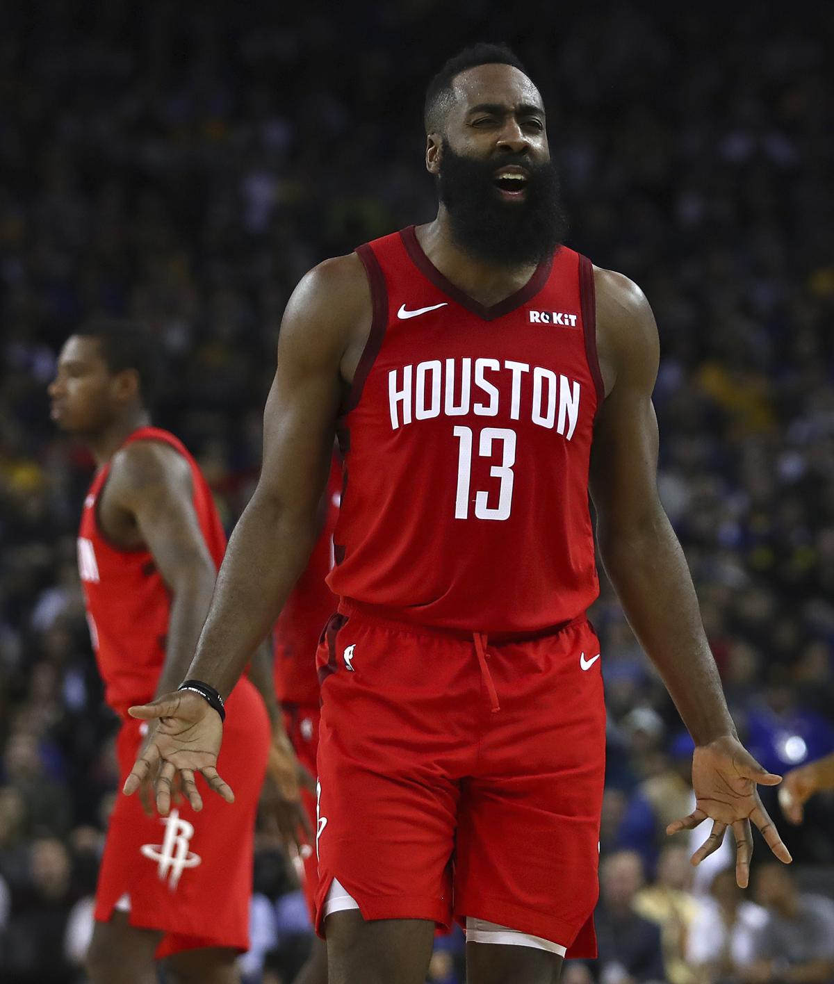 Houston Rockets  James Harden reacts during the second half of the team s  NBA basketball game b70677aa9