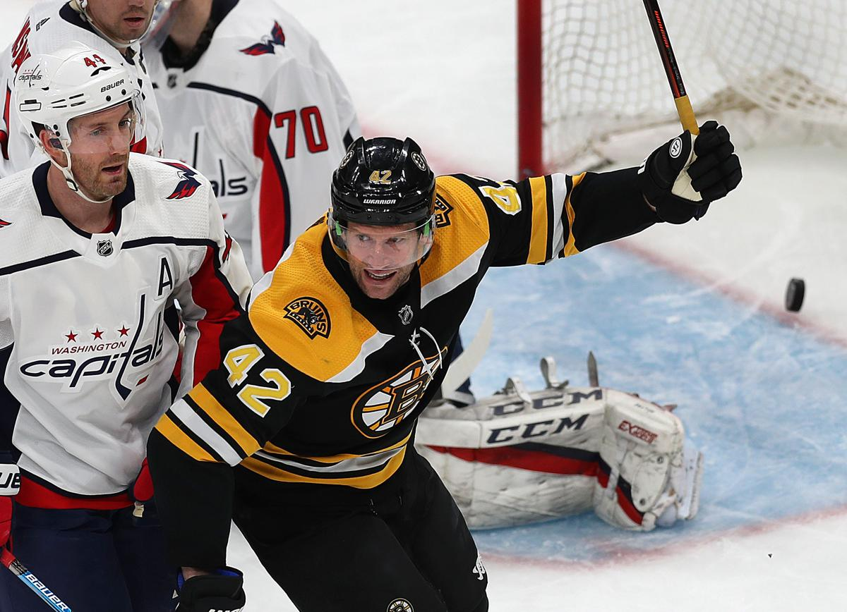 98c3a73777f The Bruins  David Backes celebrates a third-period powerplay goal scored by  David Krejci