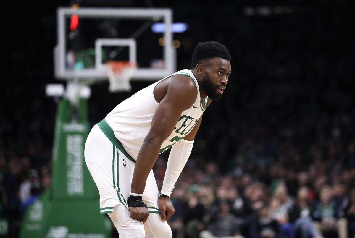 7e116f4fa3b1 Boston Celtics guard Jaylen Brown during the second half of an NBA  basketball game in Boston